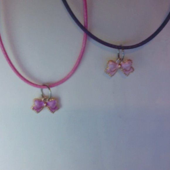 Bow charm necklaces